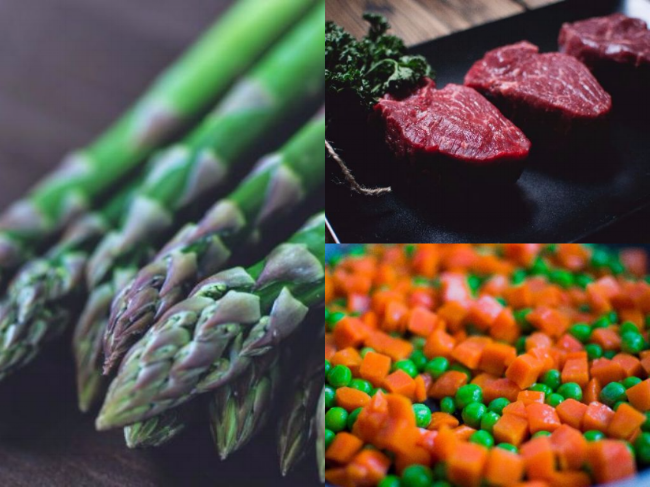 raw steak, asparagus, carrots and peas.png