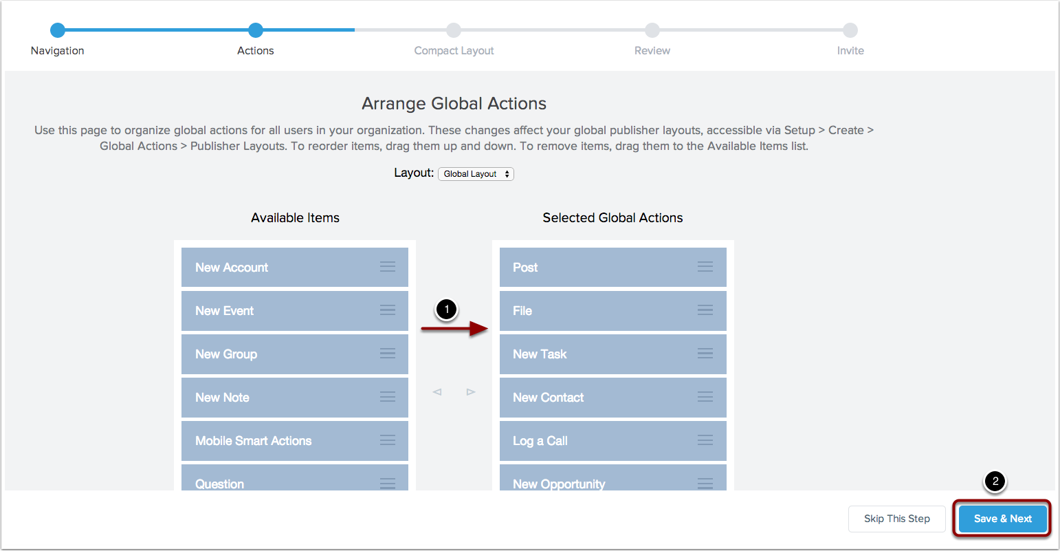 Arrange your global actions