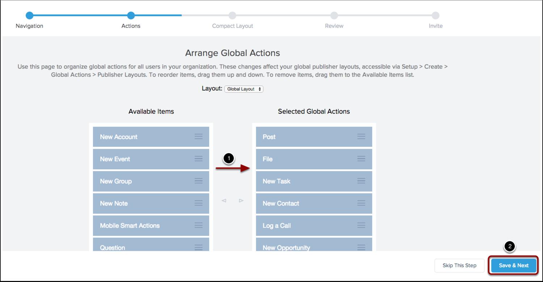 Arrange your global actions