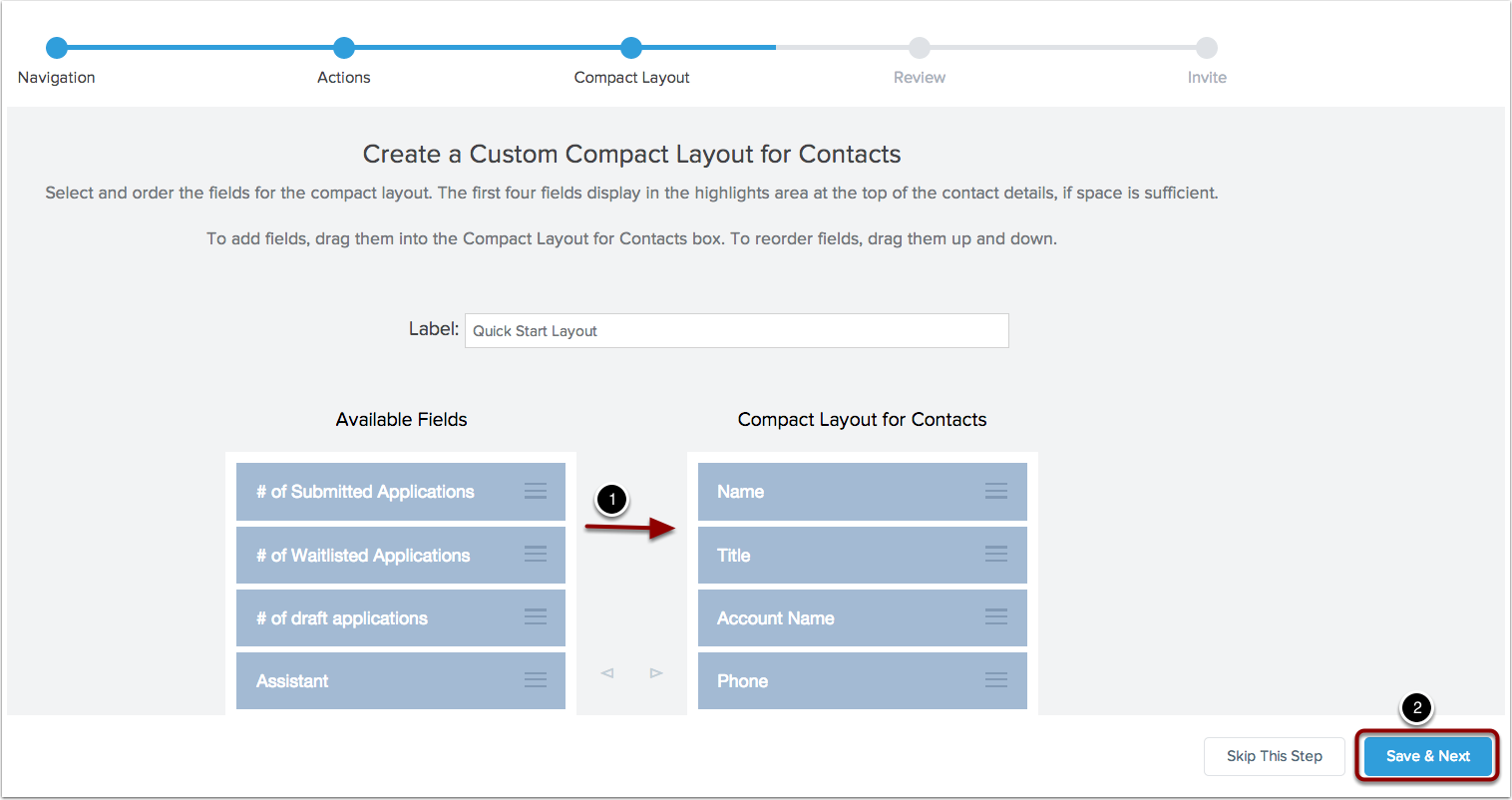 Set up your custom compact layout