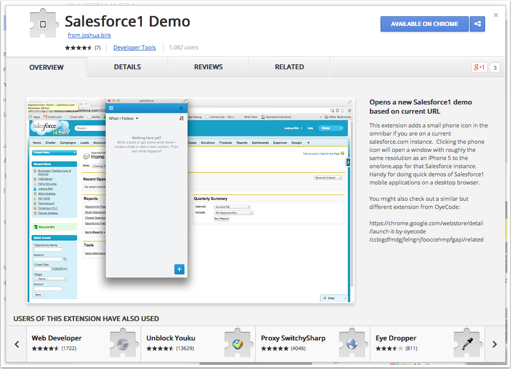 Down load and install the Salesforce1 Demo Extension