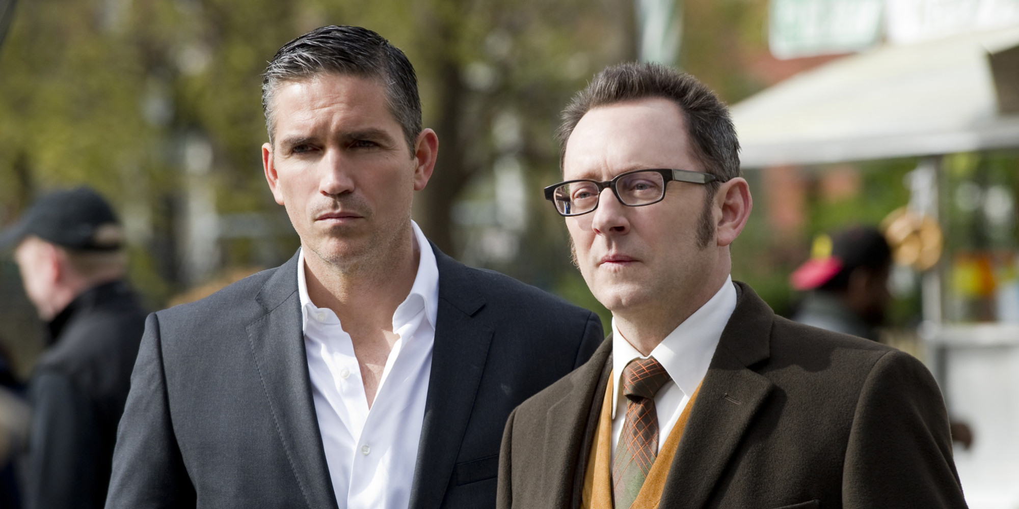 "NEW YORK - APRIL 27: ""No Good Deed"" -- The newest POI's curiosity could spell his doom when he finds himself embroiled in a dark government conspiracy - one that Finch (Michael Emerson, right) is all too familiar with, on PERSON OF INTEREST, Thursday, May 10 (9:00 - 10:00 PM, ET/PT) on the CBS Television Network. Meanwhile, Reese (Jim Caviezel, left) uncovers something revealing about Finch's past. (Photo by John Paul Filo/CBS via Getty Images)"