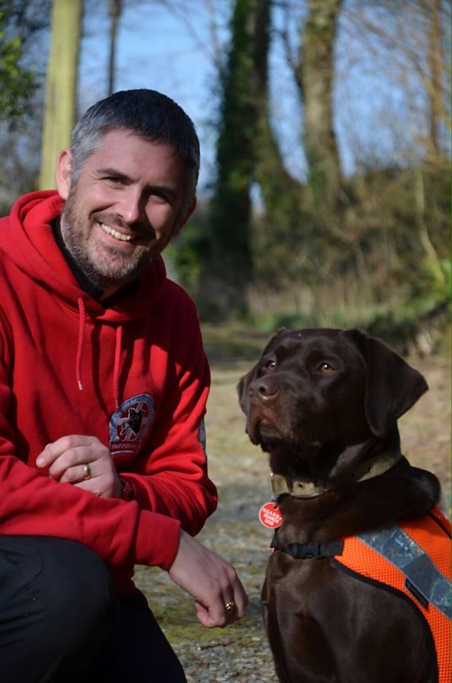 Search dog Jake and Dog Handler James