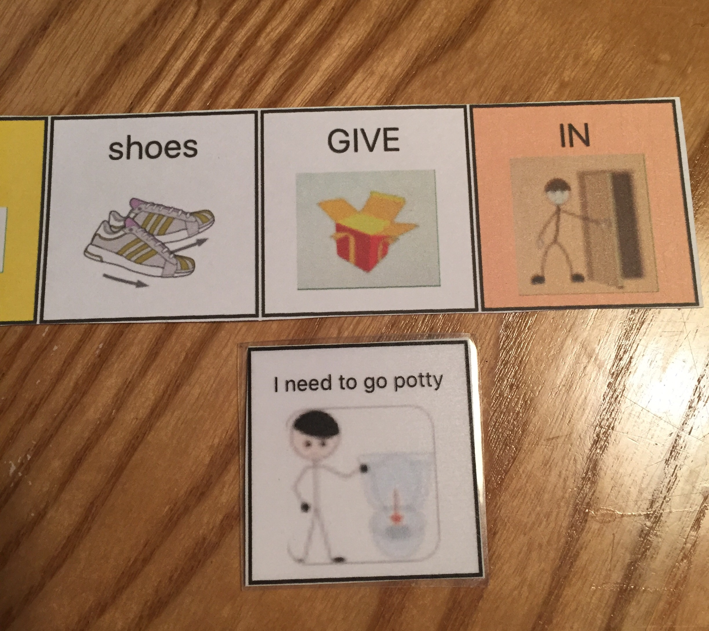 """For printing quality comparison: GIVE, IN, and """"I need to go potty"""" were created by printing cropped images from SFY message window. Shoes was created on Custom Boards."""
