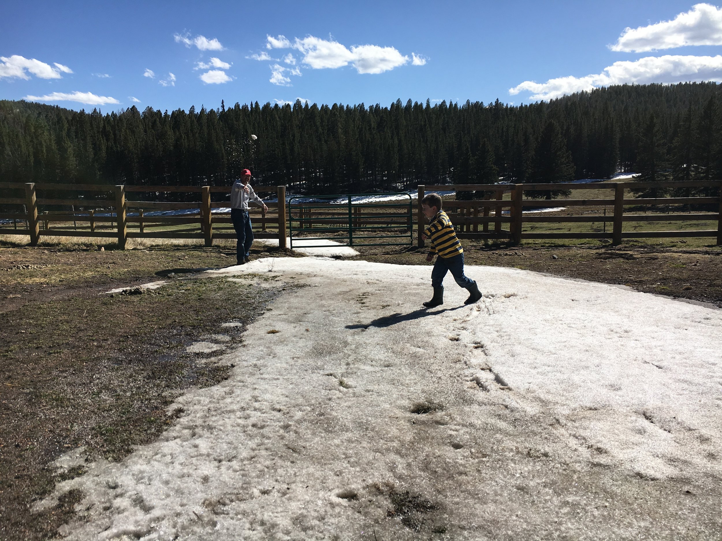 Snowball fun in the high country.