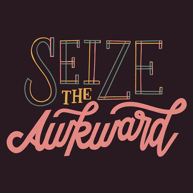 Seize the Awkward ✨ @goodtype is teaming up with @seizetheawkward again this year to highlight the importance of talking about mental health with your friends. As a huge advocate for all things mental health, I wanted to participate to help break the stigma... even though I didn't have time to make new artwork this year. 🤦🏼‍♀️ . Please know, I am always available to chat. You are not alone. #seizetheawkward