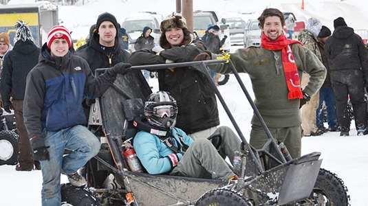 From left to right: John, Will, Stephen, Mike, and Jane (in the car) at Blizzard Baja in 2013