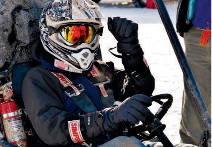 Carolyn Jones behind the wheel during Michigan Tech's Blizzard Baja