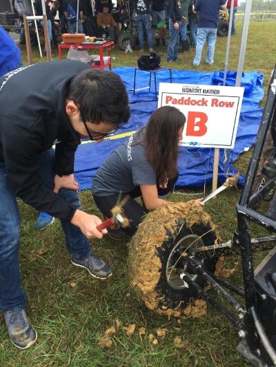 Futile mud removal attempts.