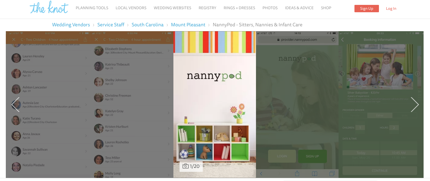 NannyPod The Knot Best of Weddings Award 2019 - Sitters & Nannies for Events