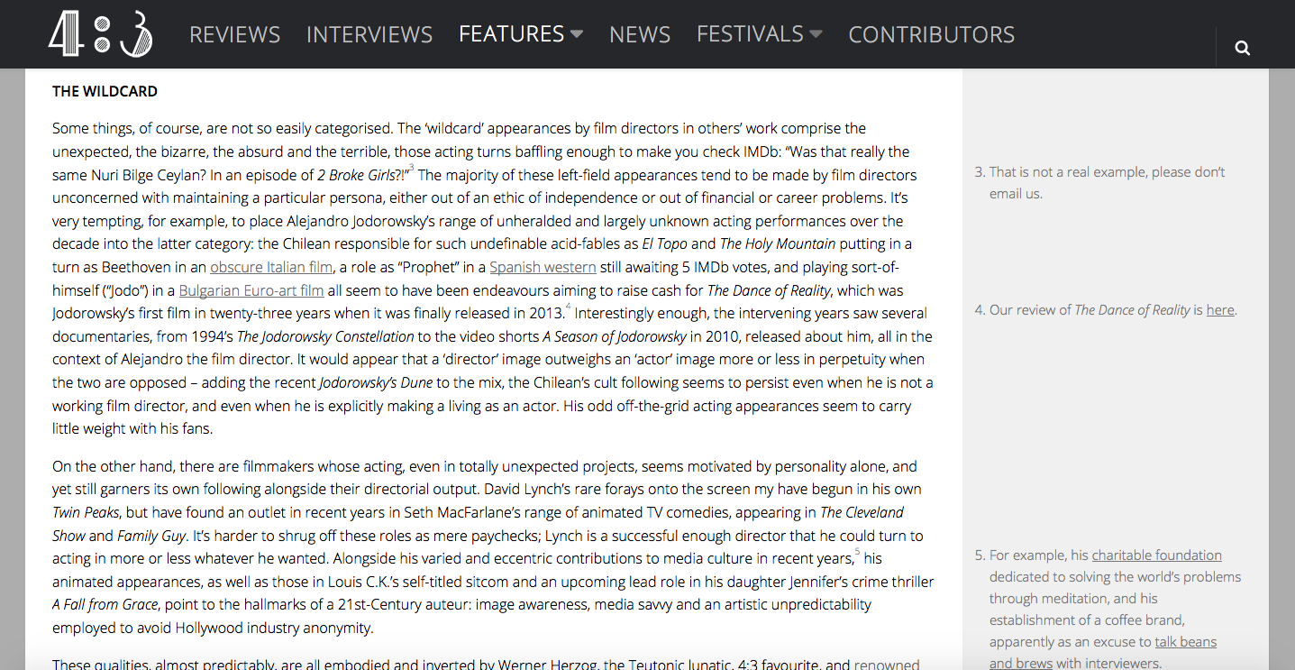 A mention of the short film in the context of Jodorowsky's appearances outside his own films.