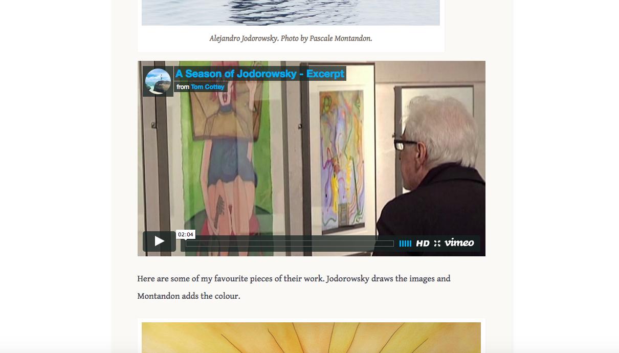 examiningtheodd.com  article on The Art of Alejandro Jodorowsky and Pascale Montandon