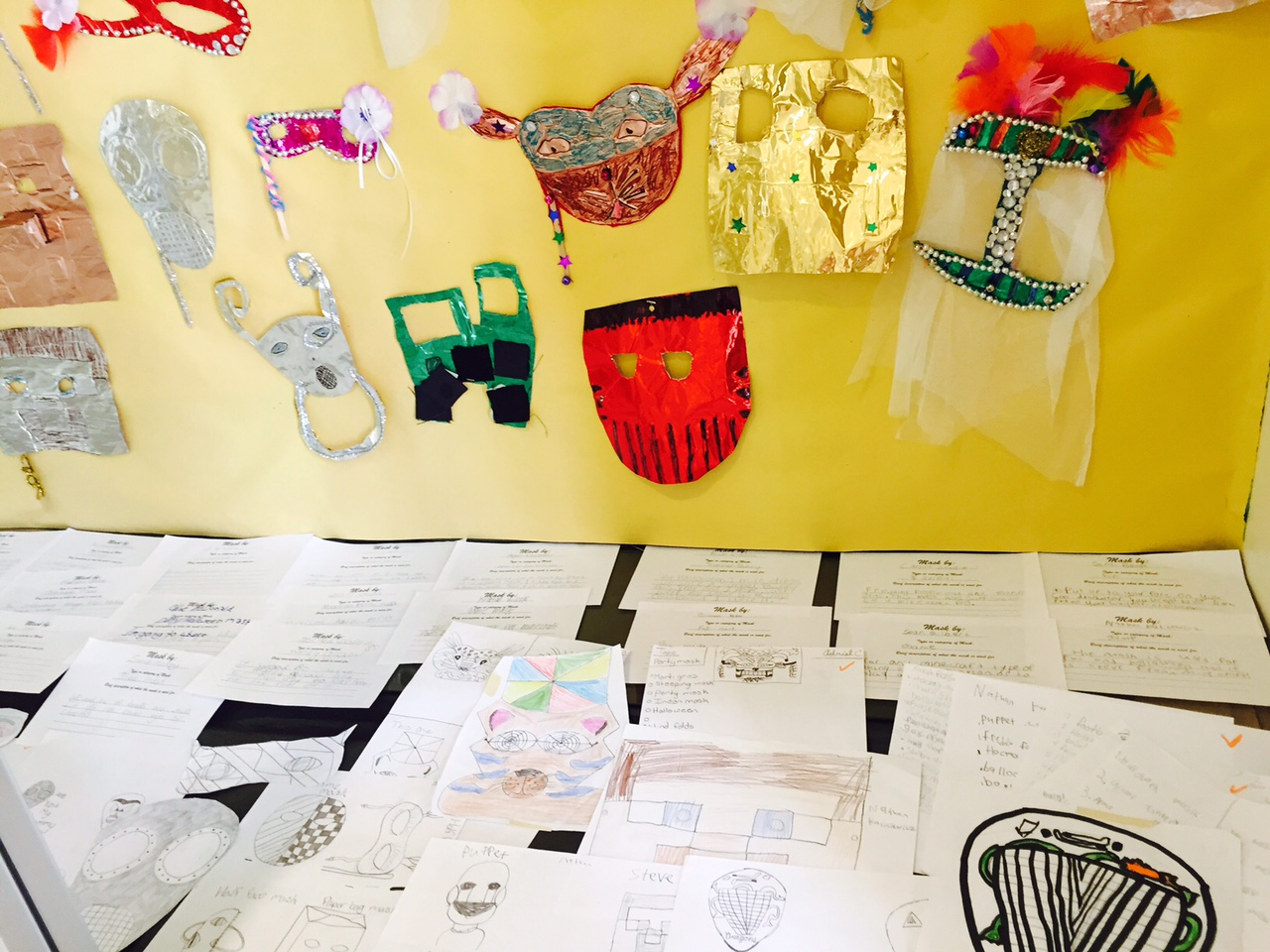 Sixth Grade Mask display showing mask categories and rough drafts