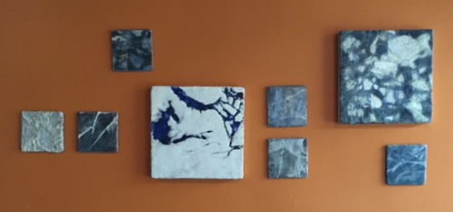 "Ice series encaustic installation  6"" X 6"" wood tile  14"" X 14"" cradled panel"