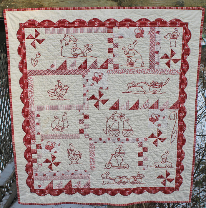 A first for 2016  Bunnies Everywhere  hand embroidery, hand applique, machine pieced and hand quilted. A pattern by  Bunny Hill Designs