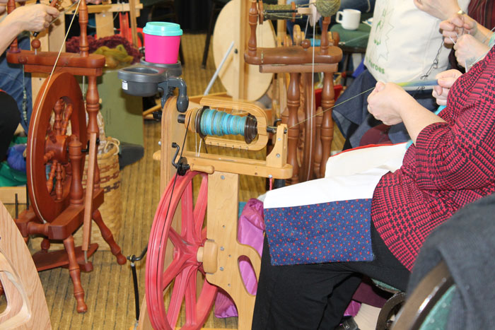 As well as quilters (and there were a lot) there was also a good crowd of spinners. I always find it quite mesmerizing watching the spinners spin! I think of my grandmother who was a wonderful spinner, I have her spinning wheel and her walking wheel. Oh, if only there were enough hours in the day!