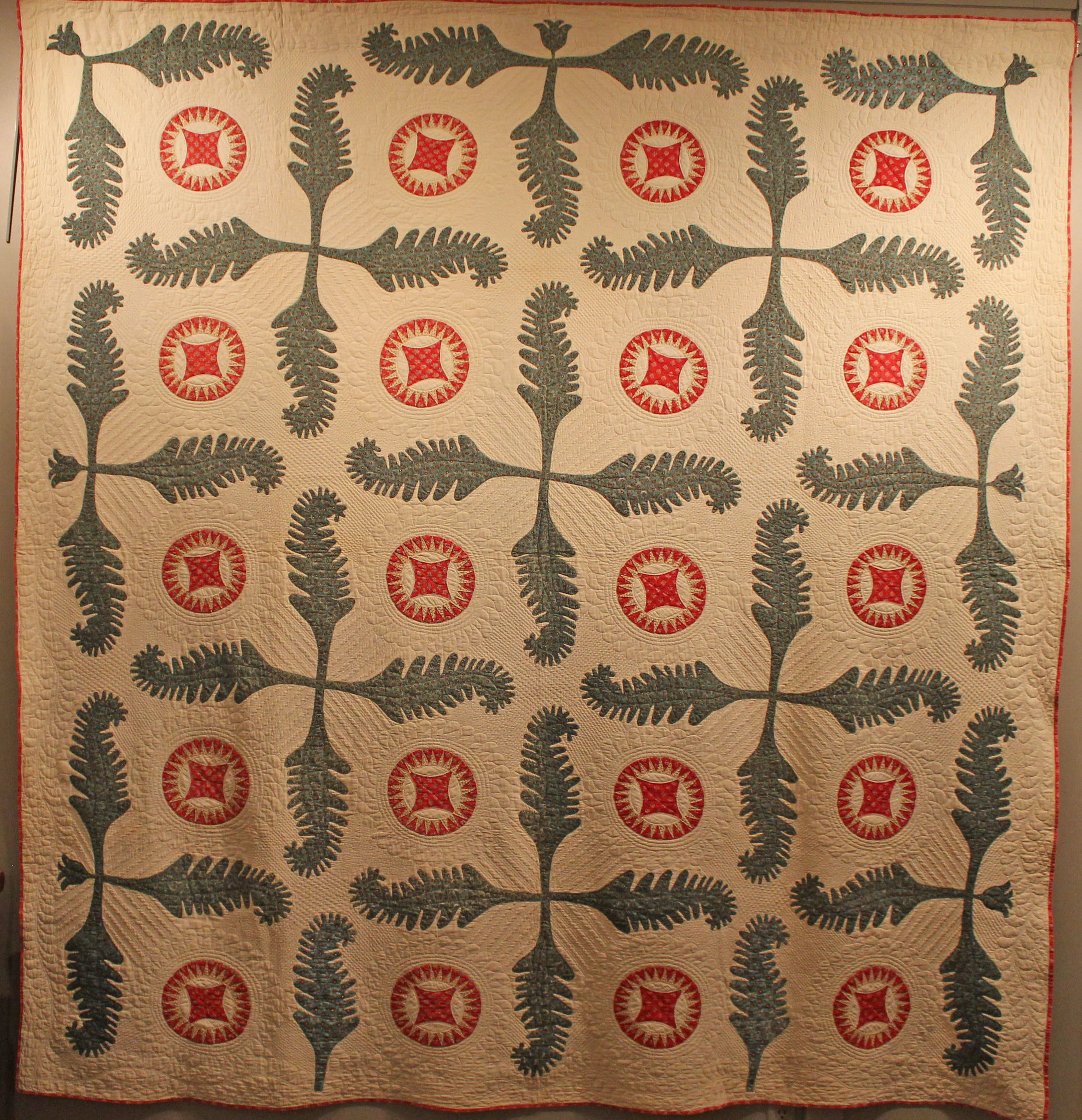 Princess Feather  c.1840, maker unknown, Ohio. From the Pat and Arlen Christ Collection at the New England Quilt Museum. One of the most stunning applique quilts I have ever seeb, I spent a lot of time just looking at it and absorbing the beauty. The hand applique and the hand quilting were superb.