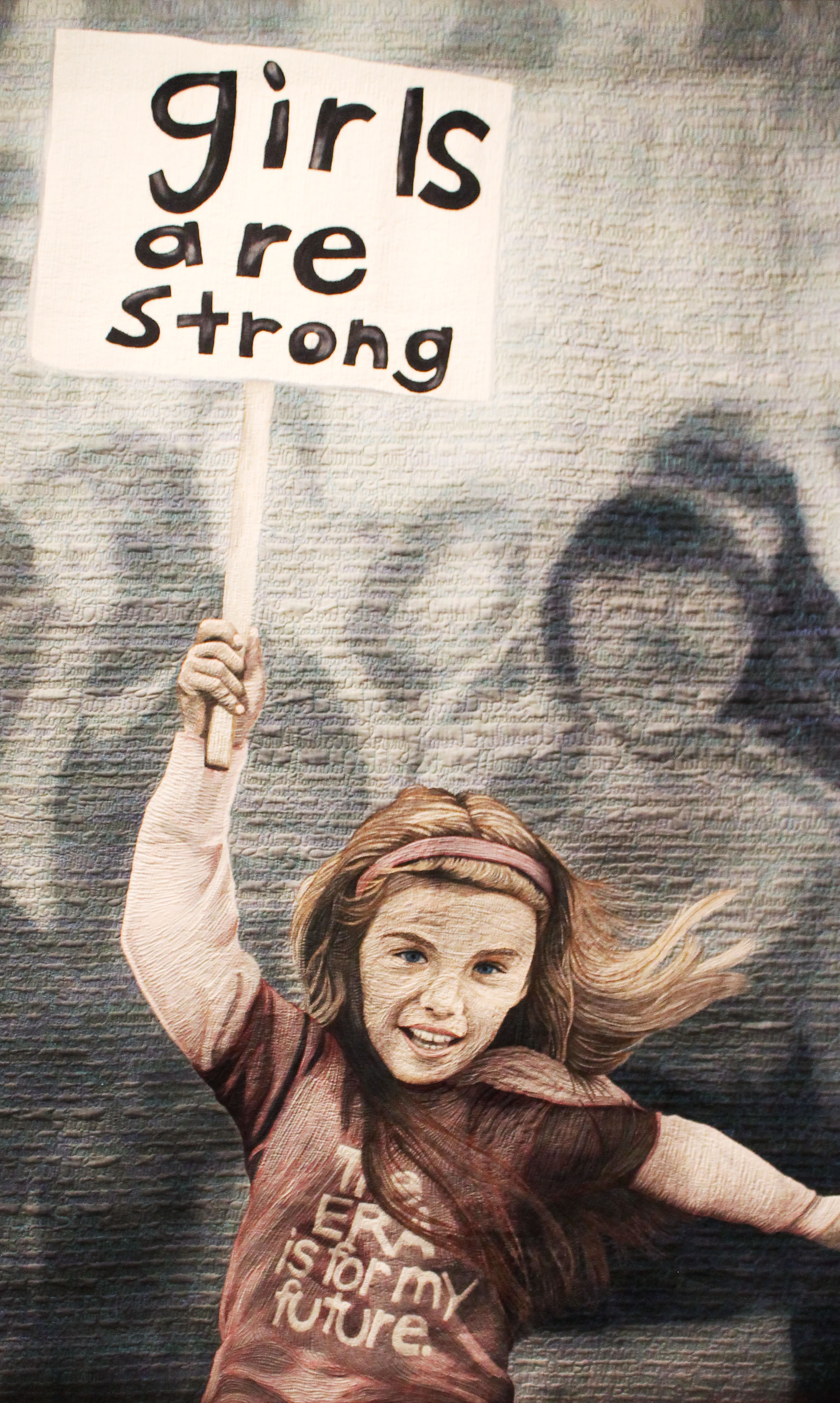"""""""Girls Are Strong"""" by Hollis Chatelain, hand dye-painted, machine-quilted"""