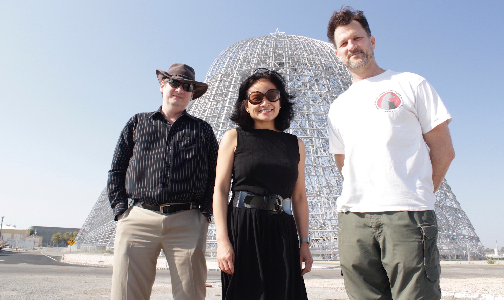 Team SpaceBase: Eric Dahlstrom, Emeline Paat-Dahlstrom and Rich Bodo, at Hangar 1 in Mountain View, California