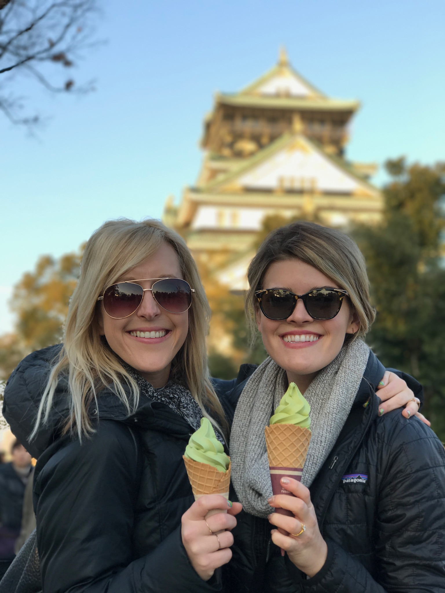 Green Tea ice cream and Osaka Castle
