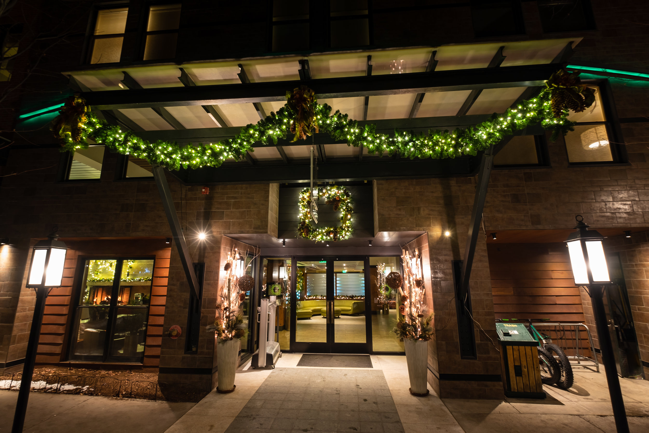 The Limelight Hotel Aspen decorated for Christmas!