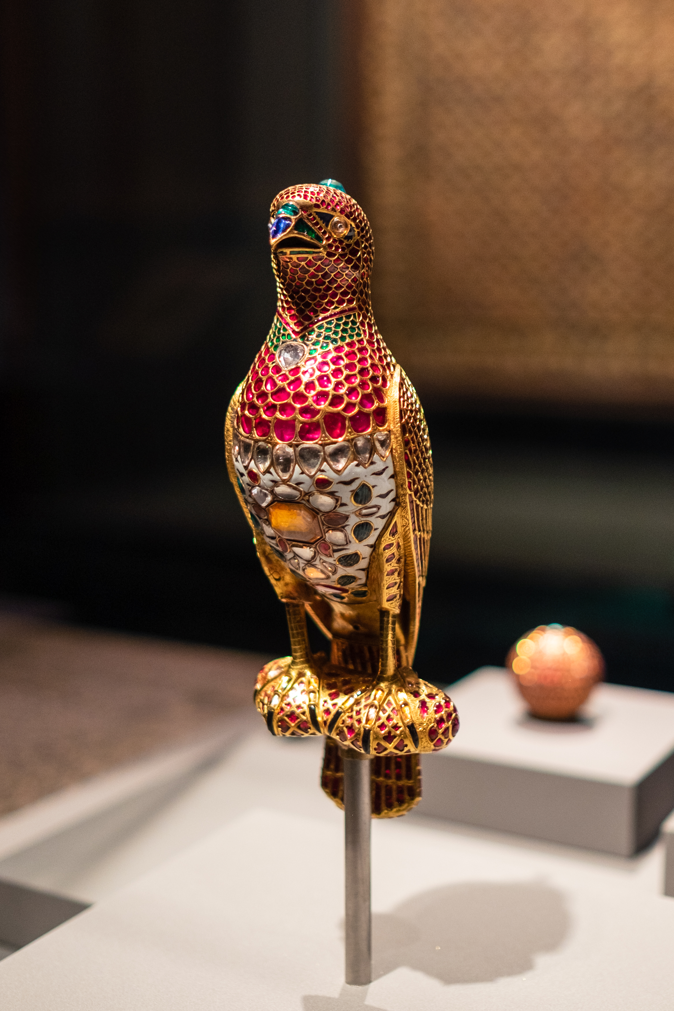 A Jeweled Falcon created with Gold, rubies, emeralds, diamonds, sapphires, and onyx. Insane!