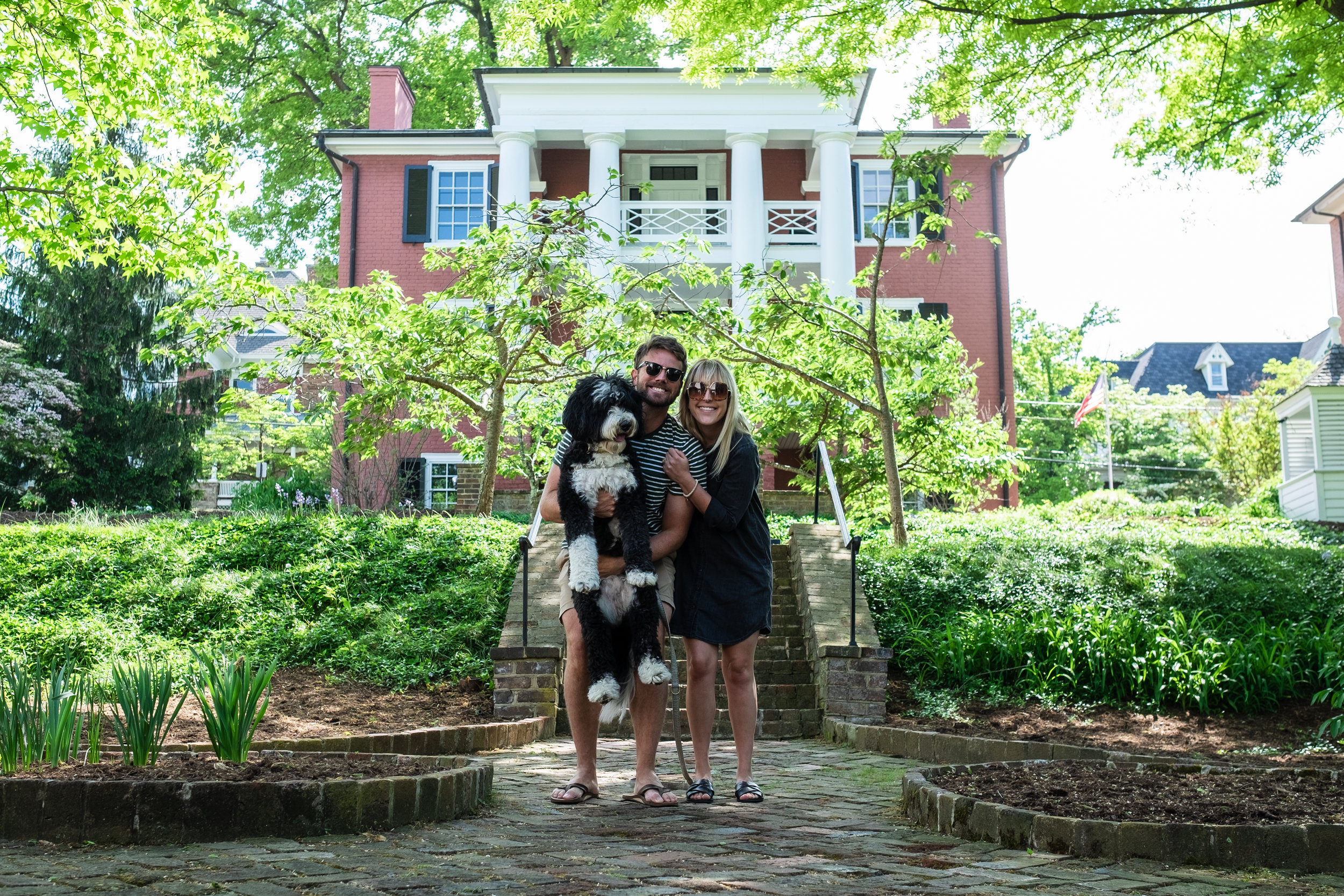 Family photo in front of Woodrow Wilson's home