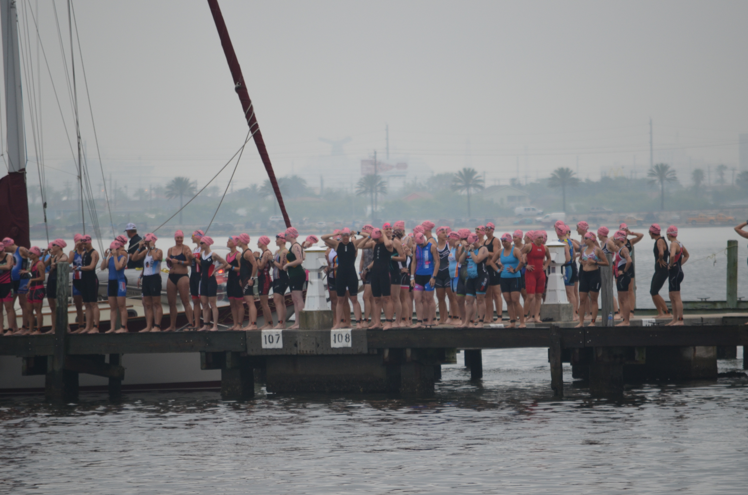 Waiting to enter the water for a brief (4min) warmup