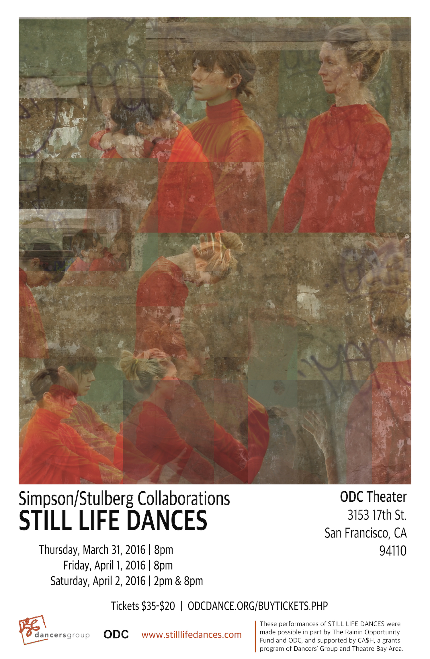 """Promotional poster for SSC's self produced show """"Still Life Dances"""" at ODC Theater, spring 2016."""