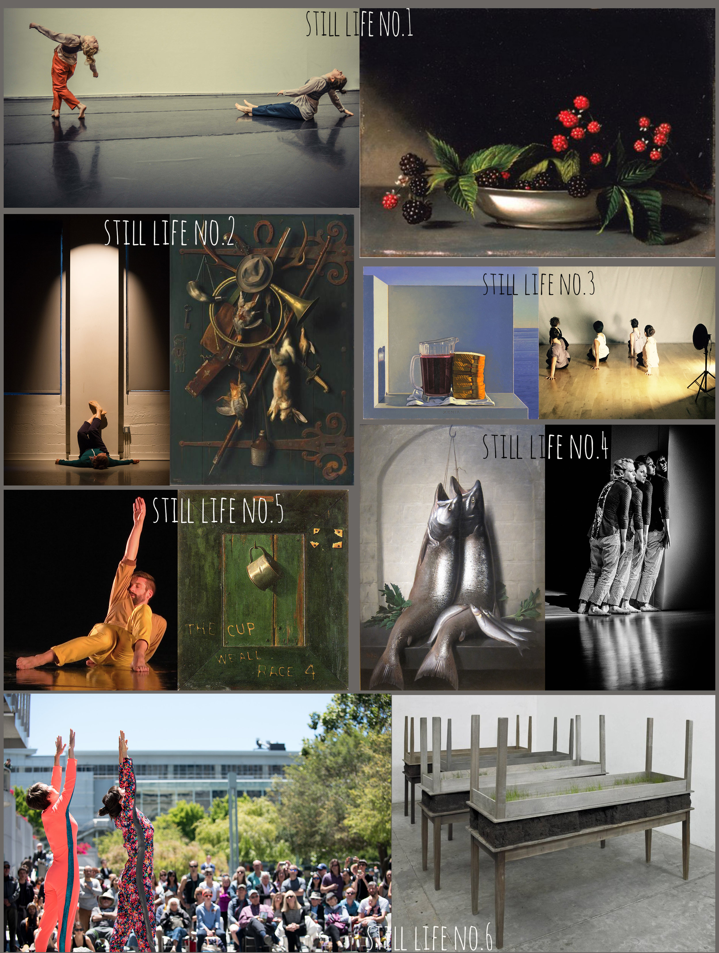 SSC's collage depicting still life paintings/instillations used as inspiration for correlating dance-works.