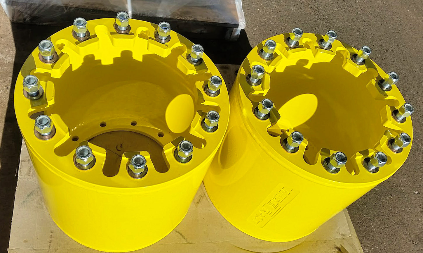John Deere wheel spacers with waffle flange for quicker fitting. Click for enlarged view