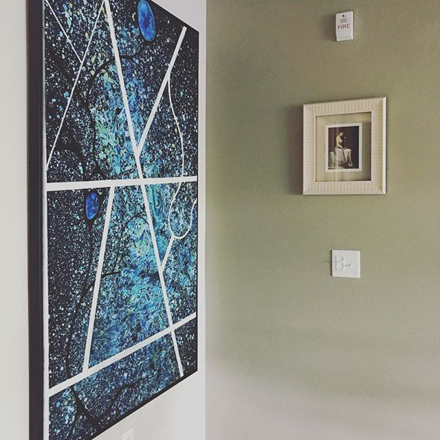 Playing against the galaxy. #painting #art #artist #paint #abstract #blue #white #decor #style #home #installation #artwork #work #instagood