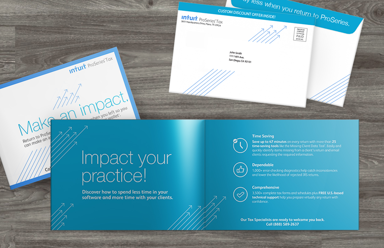 ProSeries Direct Mail Acquisition  - For the fall 2015 ProSeries Direct Mail piece Intuit wanted an updated take on their previous DM package. Moving away from the more traditional brochure, this eight page booklet allowed for exploration with typography and graphic elements, while still maintaining the ability to accommodate seven different cells of information. The fluid internal layout morphed to suit the copy while the graphic elements and icon treatment remained the same to create a unified aesthetic throughout the seven different booklets.