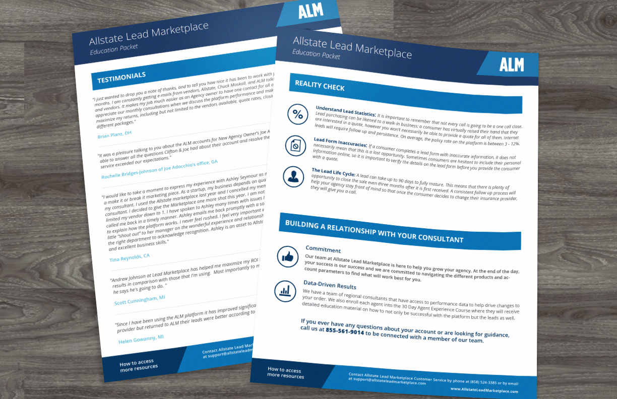 Education Packet  - These pages are from an extensive education packet informing agents how to best utilize the ALM platform and the leads provided there. It acts as an easy to navigate guide agents can reuse and reference as needed.