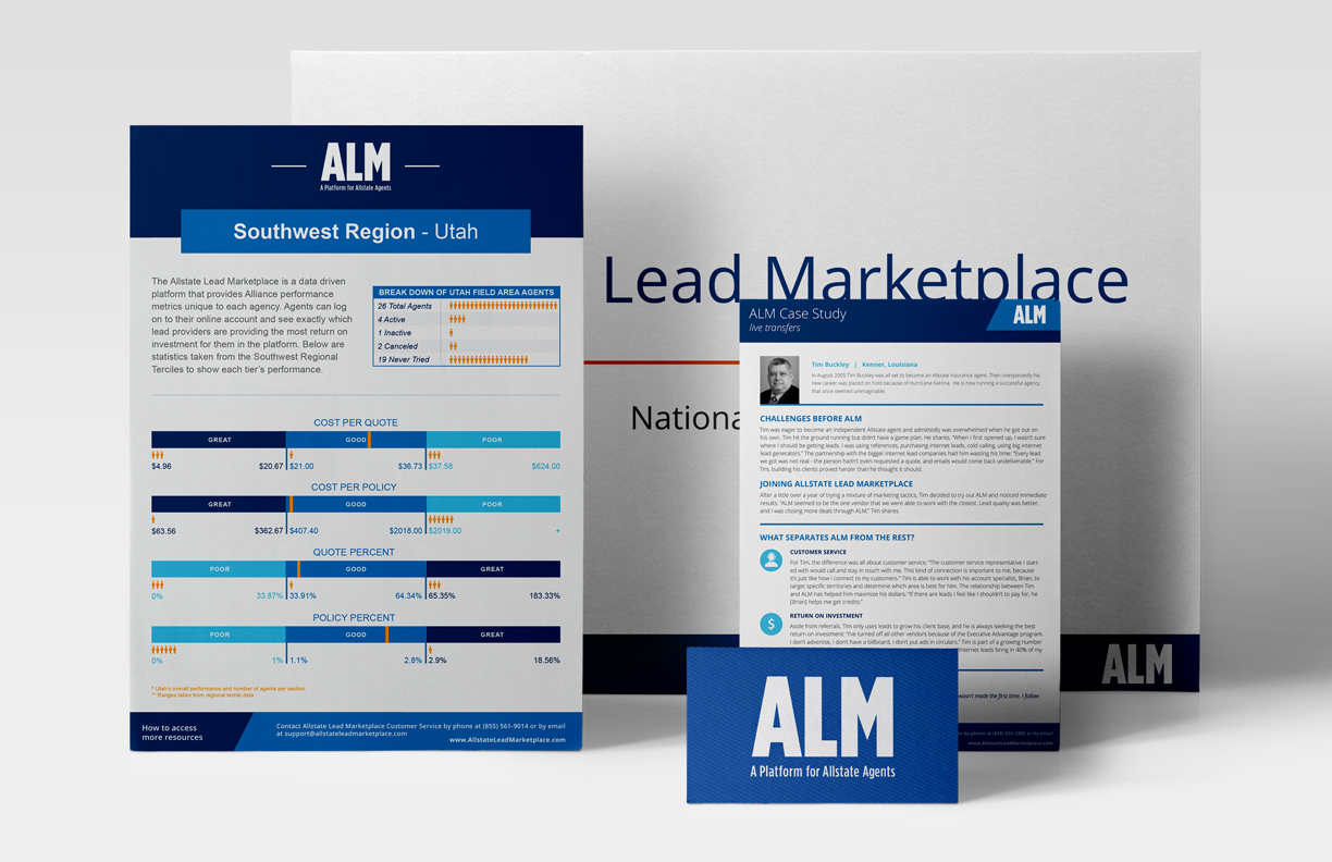 examples of the ALM branded paper system in use: regional field guide, presentation deck, case study, and business card