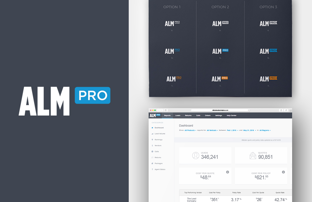 """ALM Pro - ALM pro is a specialized version of the ALM platform for expert users, and it required a unique version of the ALM logo to differentiate it from the other version of the site. After numerous explorations, a version of the logo with a """"Pro"""" flag, in a highlighting brand color, was decided on."""