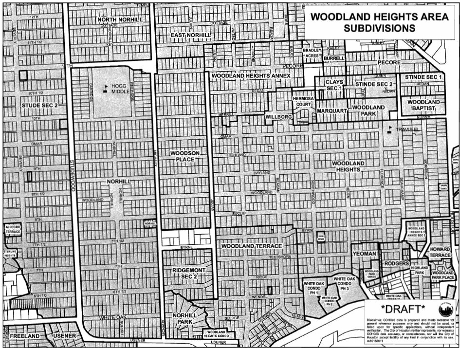 Woodland Heights Boundary Map, Houston, Texas.