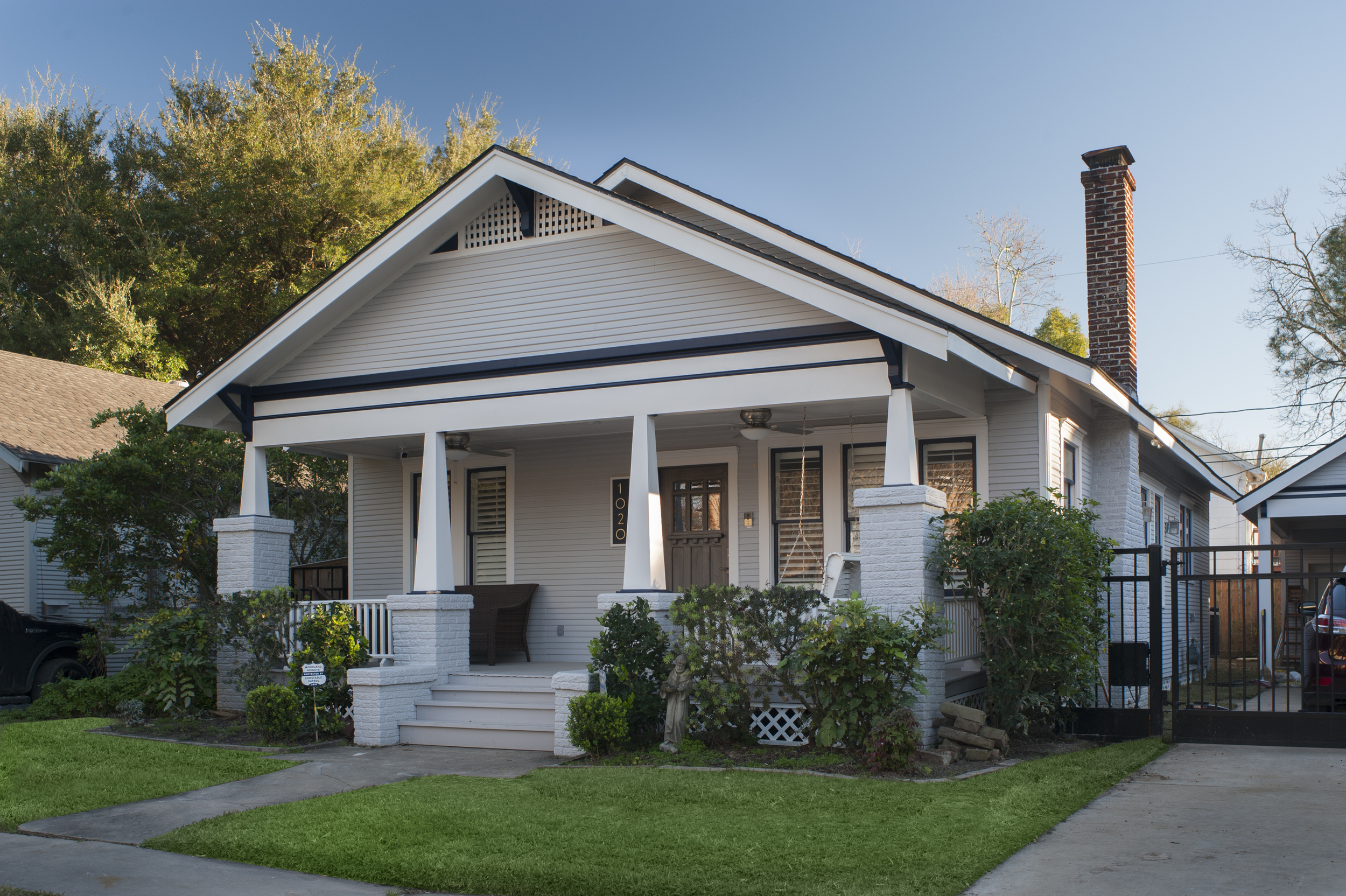 1020 Bayland: 1920 bungalow revamped and expanded in 2015, preserving original front façade, front rooms and porch.