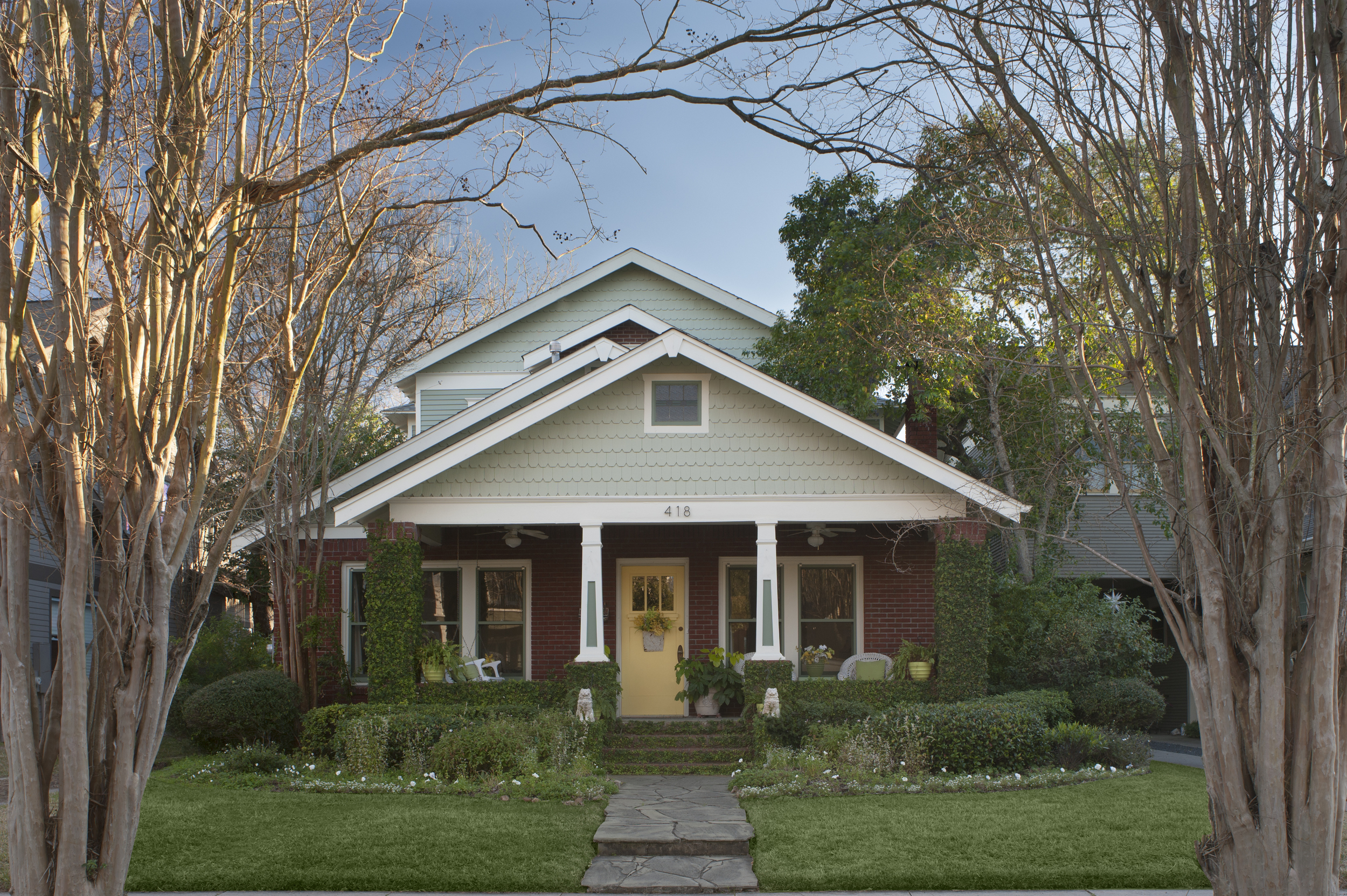 418 Byrne: Circa 1915 Craftsman brick bungalow expanded through the years, with complete update in 1996 and second story addition in 2014.