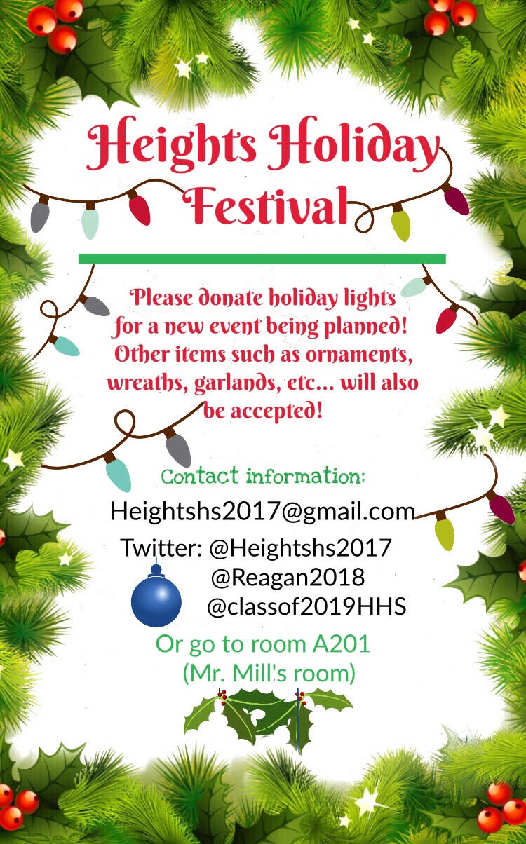 Woodland Heights Civic Association: Heights High School holiday decoration donation drive.