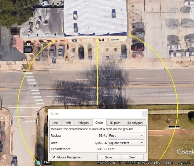 Figure 2 – Hogg Middle School north limits to the seating area of Second Cup; distance estimate.  Image and calculation credit to Google Earth