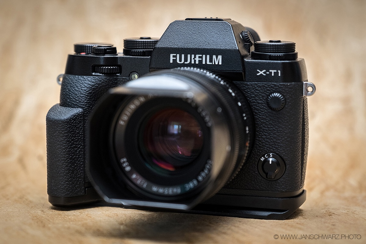 X-T1 with the hand grip and the 35mm f/1.4. A beautiful and very capable combination.