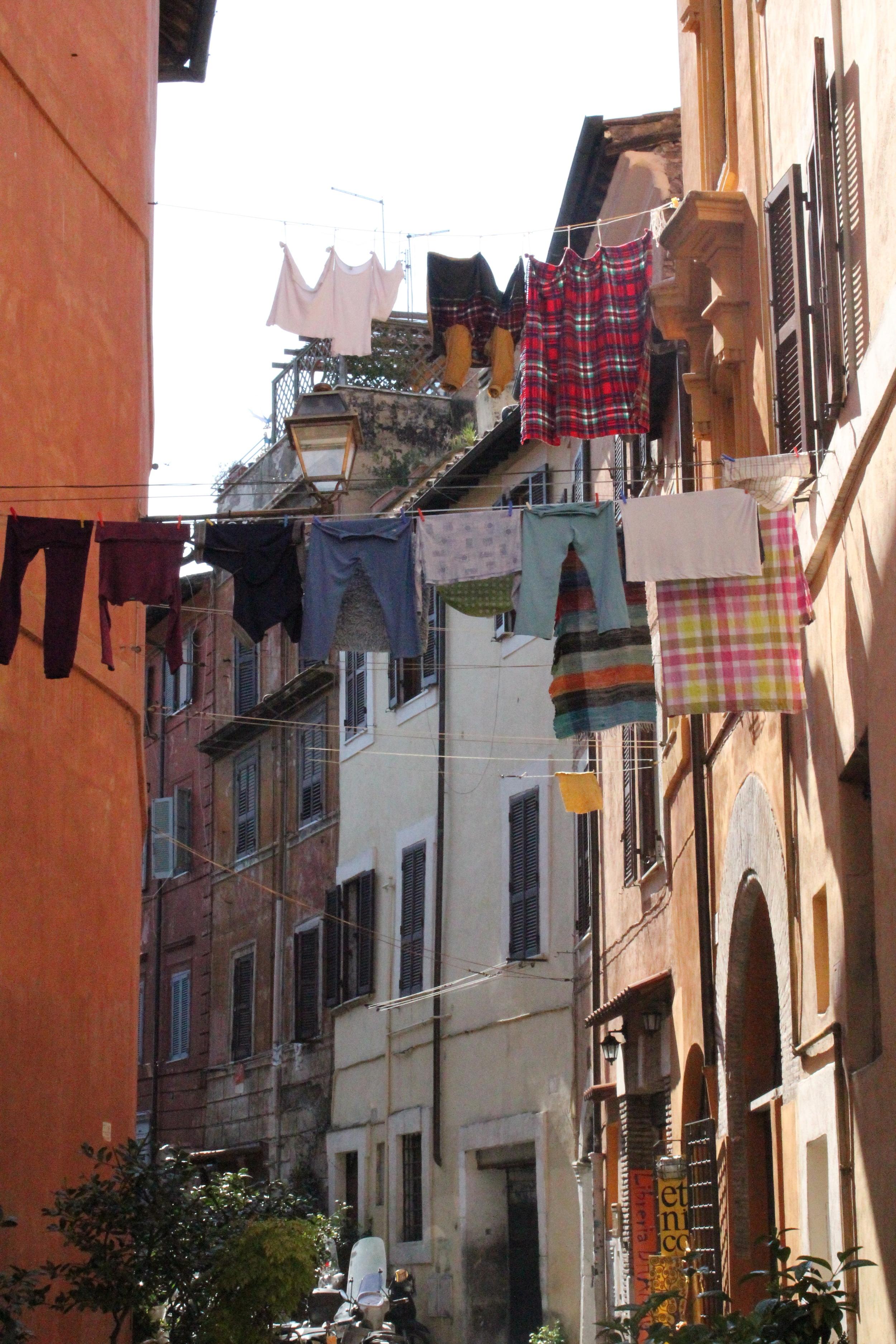 Laundryline overhead, Rome, Italy