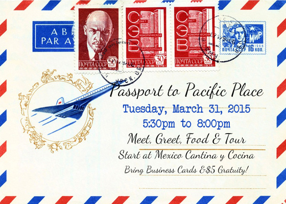 """Get ready for an adventure as we tour and experience more of what Pacific Place has to offer! Please gather at Mexico Cantina y Cocina on the 4th Floor of Pacific Place for some appetizers and beverages. From there we will travel to Barnes & Noble to begin the tour. Barnes & Noble Community Development Manager AnnaLee Zenker and Pacific Place Marketing Director Jenny Loofburrow will be on hand to welcome us and send us on our way! We will receive our """"luggage"""" and then tour these unique merchants and hear about available rental spaces:  120 Space (visit event rental space) 8telier Art of Shaving L'Occitane Bose Teavana Top Ten Toys Microsoft Kiosk 403 Space (visit event rental space)  We will then return to Barnes & Noble for coffee, cheesecake and DOOR PRIZES!!! So...PLEASE BE SURE TO BRING PLENTY OF BUSINESS CARDS!!!! There will be drawings at each stop too! Please also bring $5 gratuity!"""