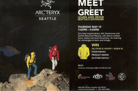 Store Manager Matt Jaech welcomes members of the Guild to a new presentation (they did one of these last year on a more limited basis) with two local organizations, Kef Adventures and Seattle Mountain Rescue. They will do a intro for their amazing products and then the others will present.   They also will be providing beer, food and ginger beer, talk about their great concierge referral program, give out some swag and enter everyone attending into a drawing for a sweet prize at the end. There is also time to shop!   Please RSVP to this invite and to https://arcteryx-concierge-night.eventbrite.com   Hope you can make it!