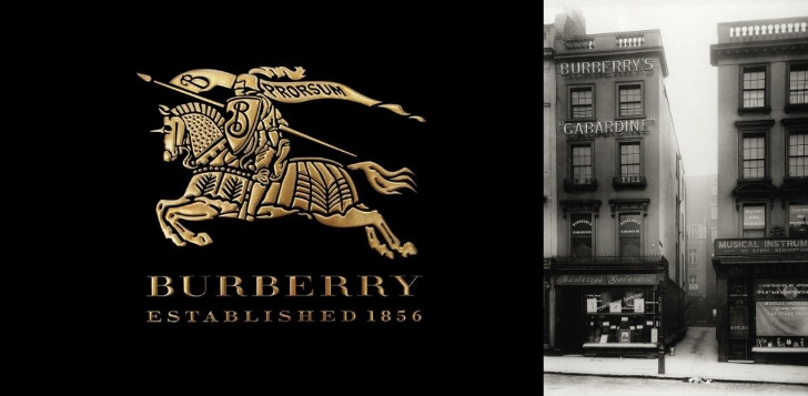 "Burberry logo - knight carrying motto ""Prorsum""; First London store (1891)"