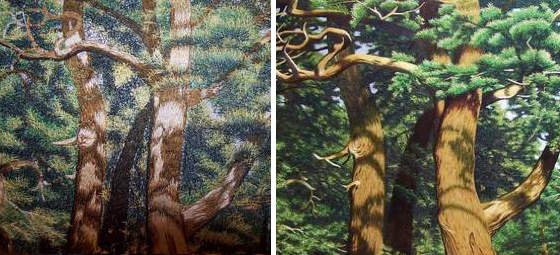 Machine (left) vs hand (right) embroidery. Pictorial compositions are better hand-made as the artist can make decisions and infuse passion into the work