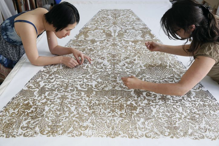 Hand embroidery for a Chanel couture garment