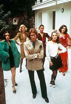 Yves Saint Laurent and his models for the scandalous collection of 1971