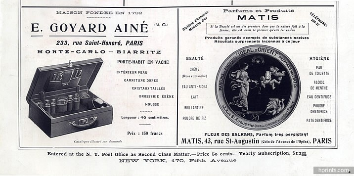 Vintage Goyard ad under the leadership of Edmond Goyard (1911)